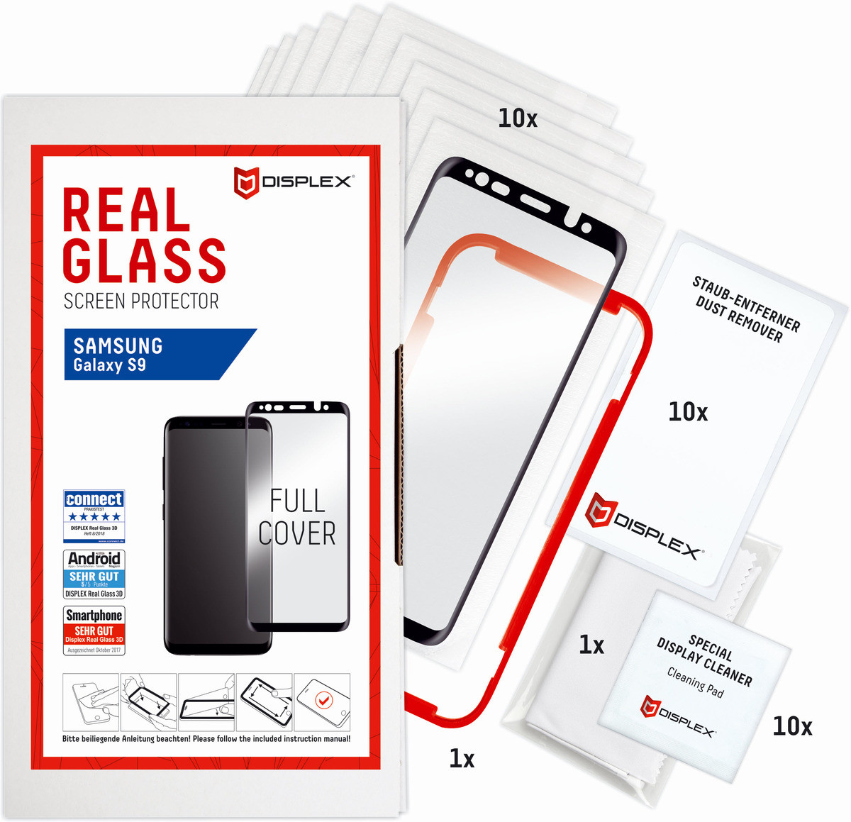 E.V.I. DISPLEX Service-Kit Real Glass 3D Galaxy S9 Schwarz, SK00012