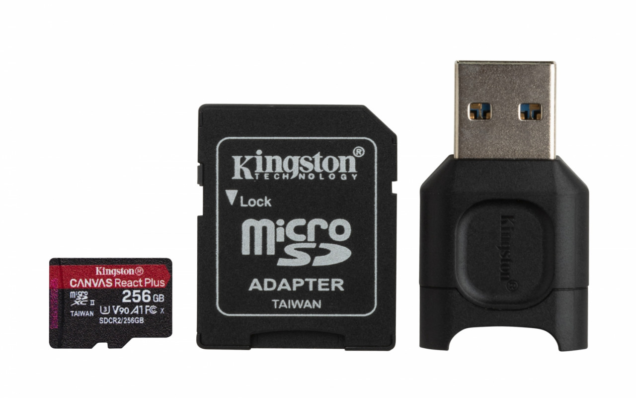 Kingston MLPMR2/256GB microSD Karten (256GB microSDXC React Plus SDCR2 Mit SD Adapter + MLPM Kartenl