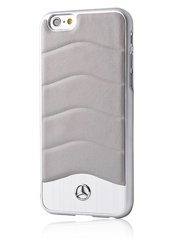 Mercedes-Benz Hard Cover Leather Aluminium Crystal Grey, Wave III Line, für Apple iPhone 6/6s, MEHCP