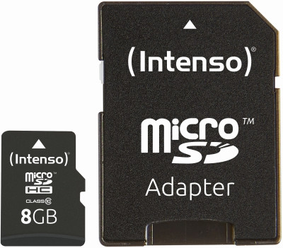 Intenso® Micro SDHC Card 8GB inkl.Adapter