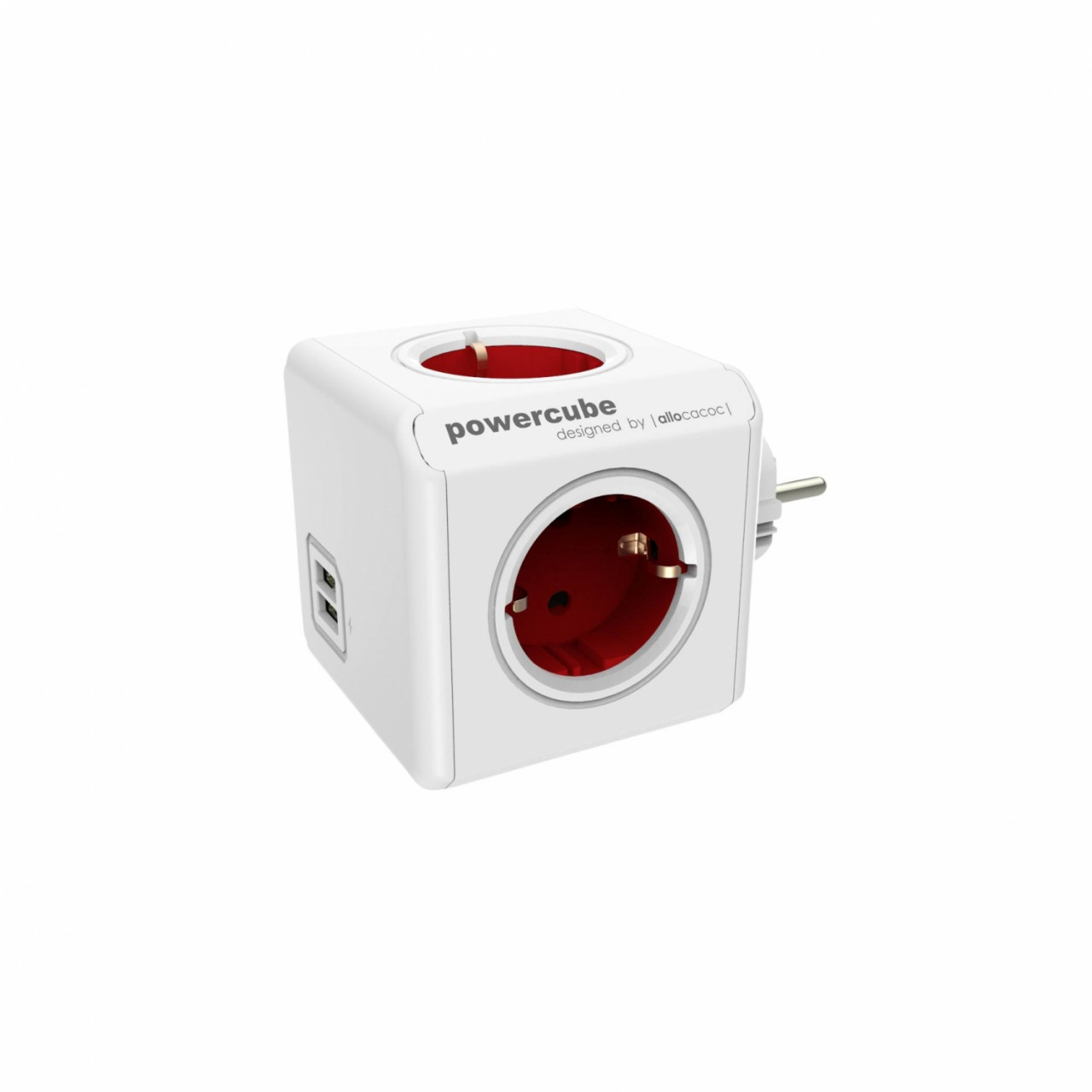 allocacoc PowerCube USB rot Type F für Extended Cubes