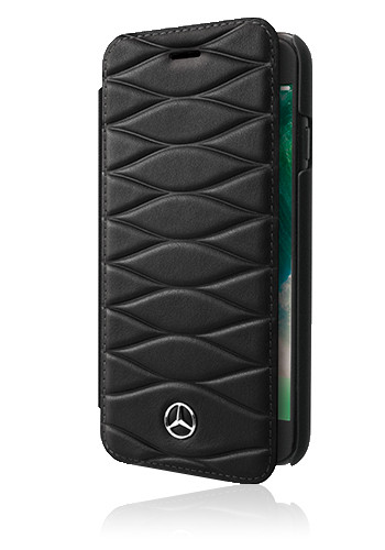 Mercedes-Benz Book Case Genuine Leather Black, Pattern III, für Samsung G955 Galaxy S8 Plus, MEFLBK