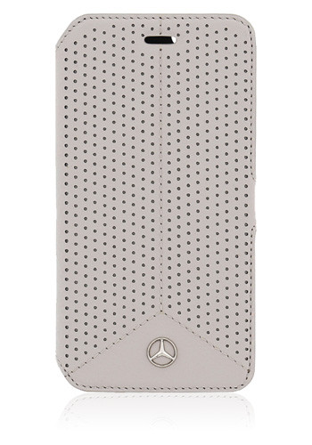 Mercedes-Benz Book Case Leather Perforated Grey, Pure Line für Samsung G920 Galaxy S6, MEFLBKS6PEGR,