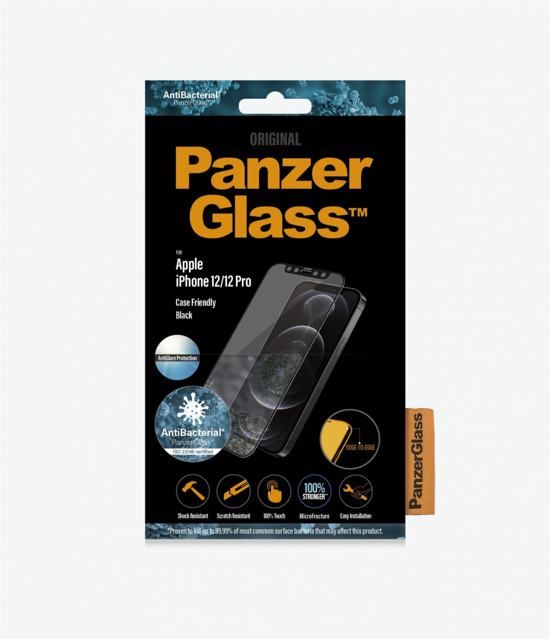 PanzerGlass antibakterielles Edge-to-Edge Schutzglas, Anti-Glare passend für Apple iPhone 12 / Pro