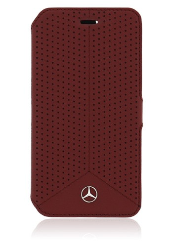Mercedes-Benz Book Case Leather Perforated Red, Pure Line für Samsung G920 Galaxy S6, MEFLBKS6PERE,