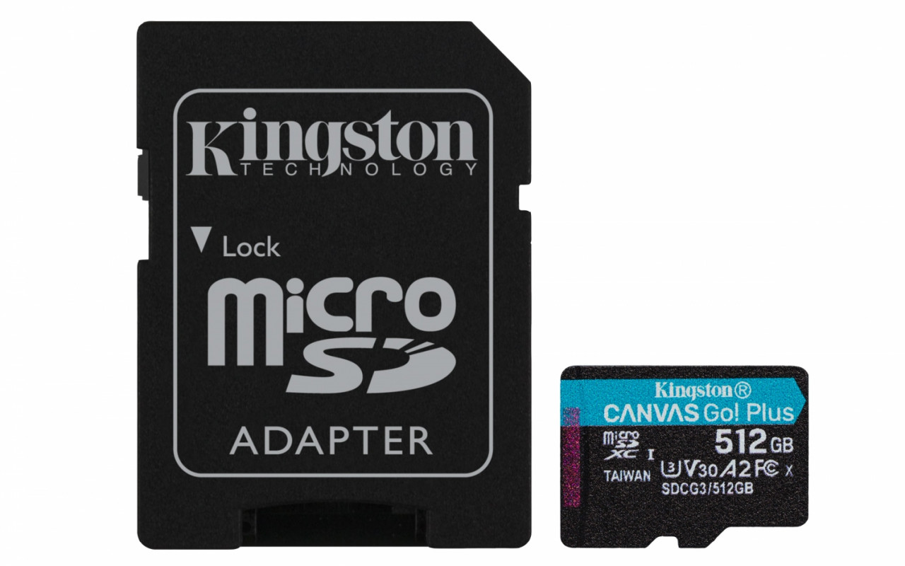 Kingston SDCG3/512GB microSD Speicherkarte ( 512GB microSDXC Canvas Go Plus 170R A2 U3 V30 mit SD Ad