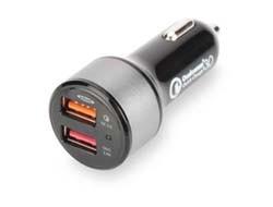 ednet 84103 USB Kfz-Ladeadapter, Eingang 12-24 Volt, 2 Ports - 1x 5V/2,4A - 1x Qualcom Quick Charge